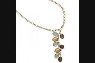 Smokey Quartz and Praseolite Nugget Y Necklace