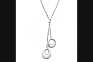 Pear & Round Drop Pendant Necklace