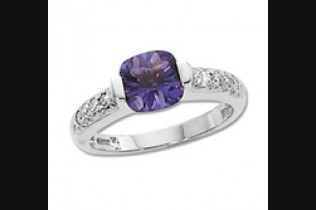 Concave Amethyst & Diamond Ring