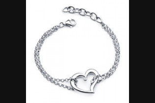 Double Chain Bracelet with Heart
